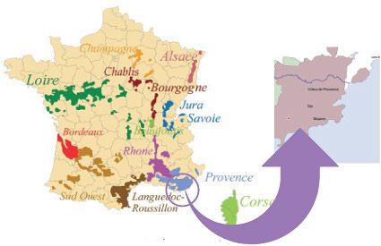 Carte de France - Domaine viticole Var